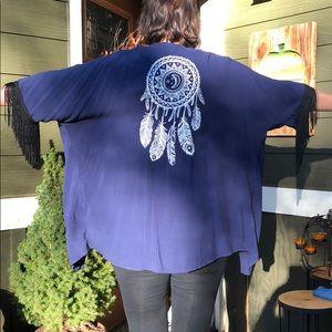 Navy Blue with Black Fringe Kimono ONE SIZE